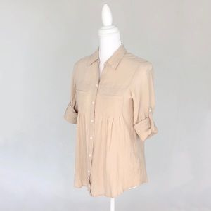 Joie beige/pink crepe cotton button down shirt